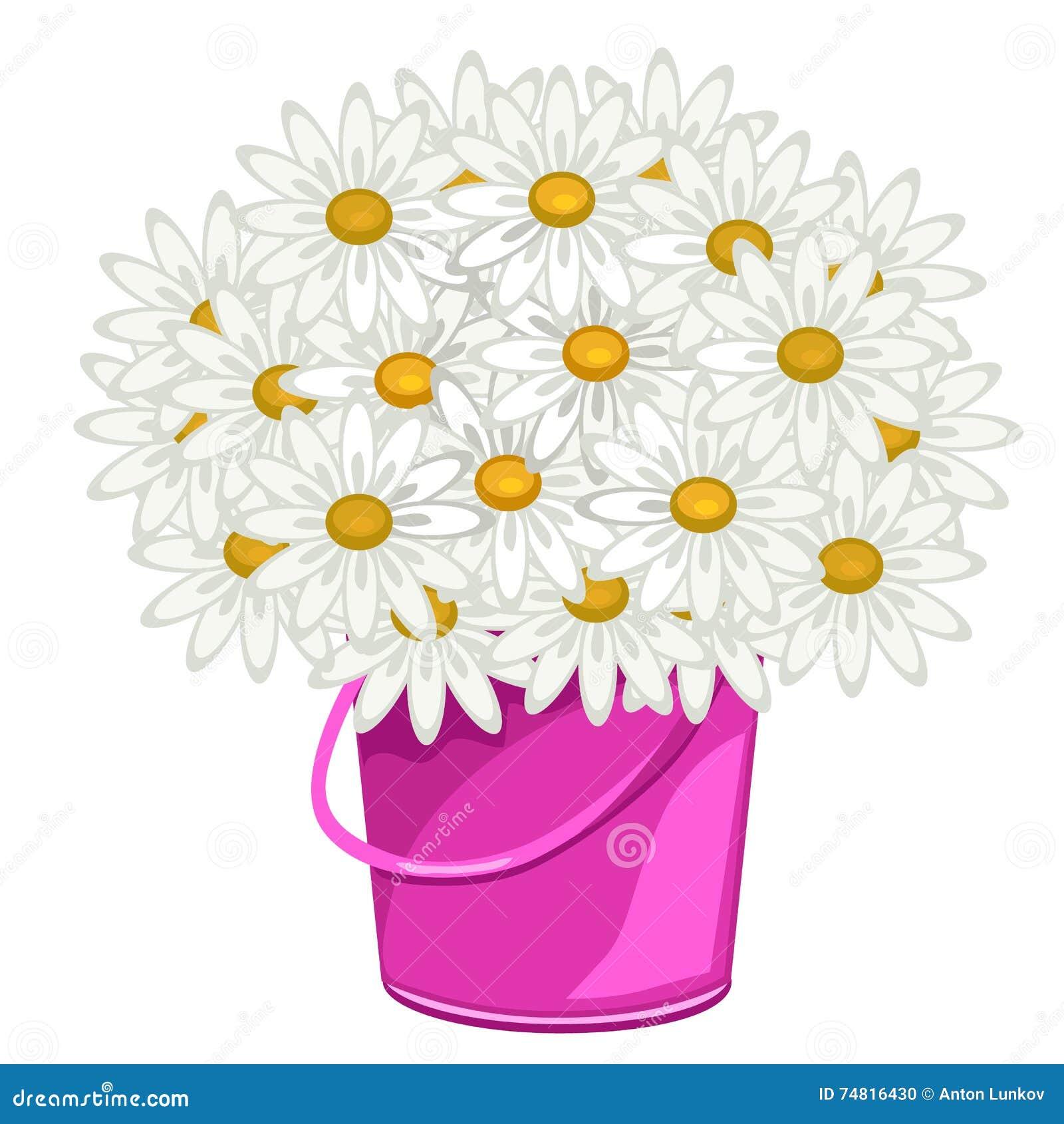 Large bouquet of daisies in pink pot flowers stock vector download comp izmirmasajfo