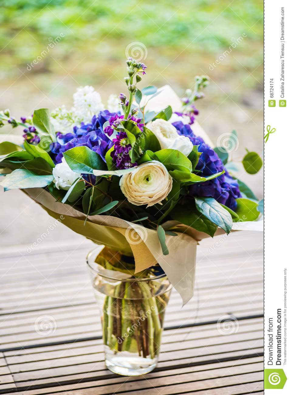 A Large Bouquet Of White And Blue Spring Flowers Stock Photo Image
