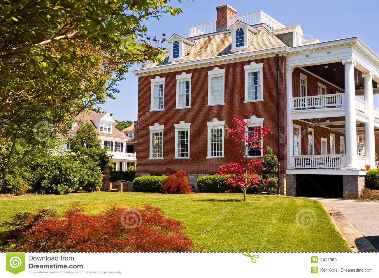 Large Brick Mansion With Porch Stock Photo Image 2421360