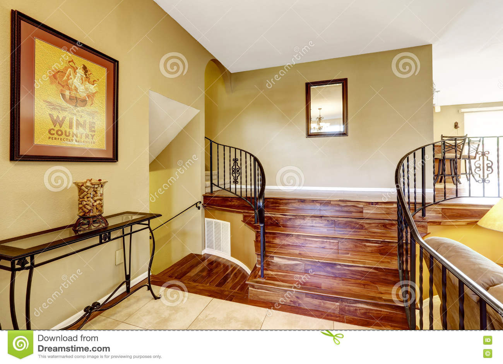 Lighting Basement Washroom Stairs: Large Bright Hallway Interior Design. Nice Basement