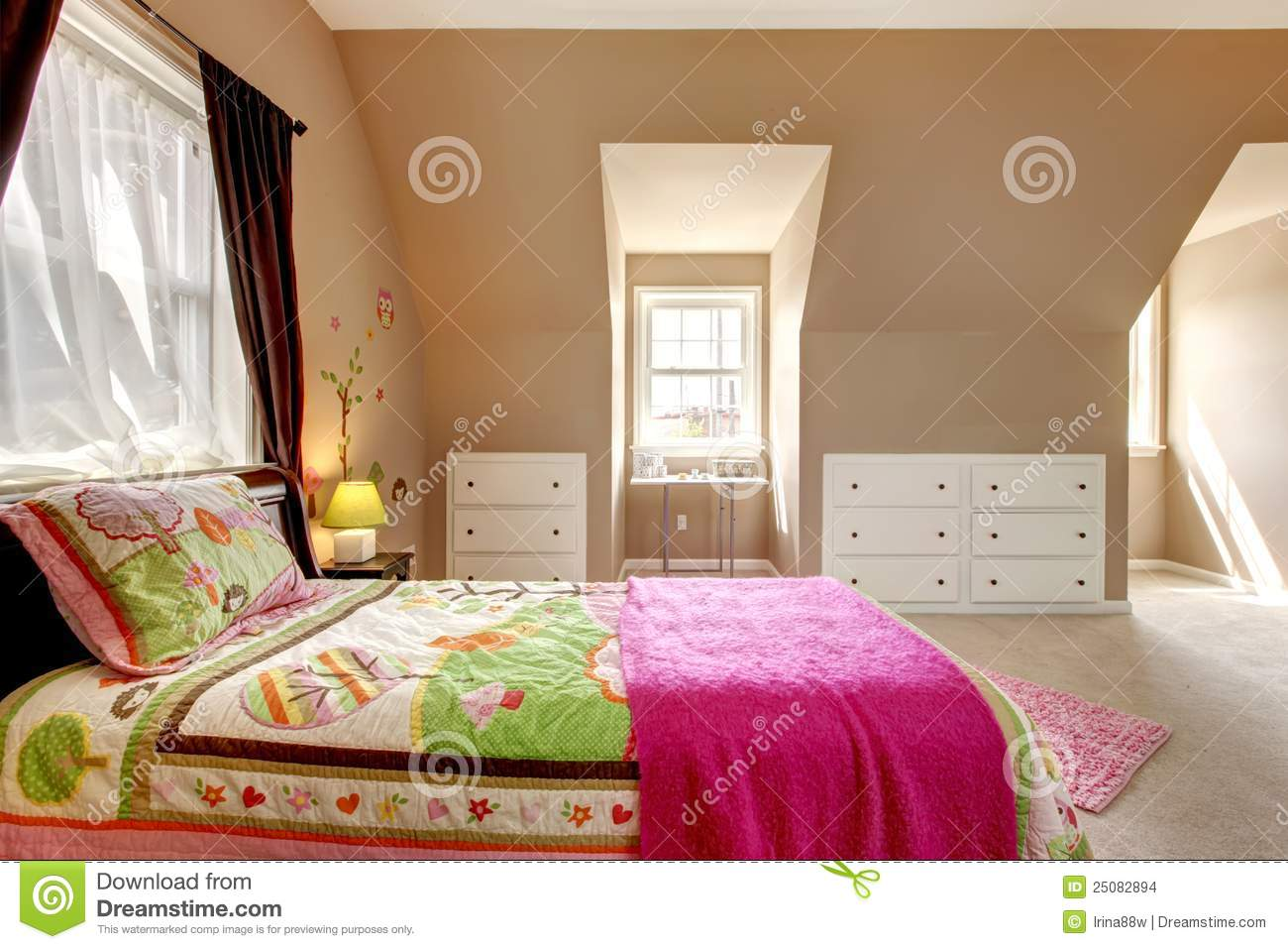 Large brown baby girl bedroom interior stock images for Brown and pink bedroom ideas for a girl