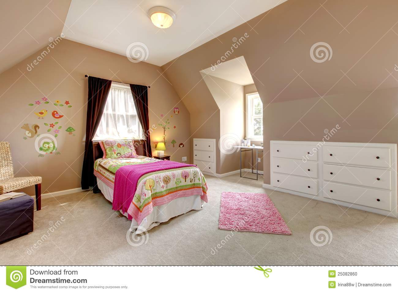 Large Brown Baby Girl Bedroom With Pink Bed Stock Photo