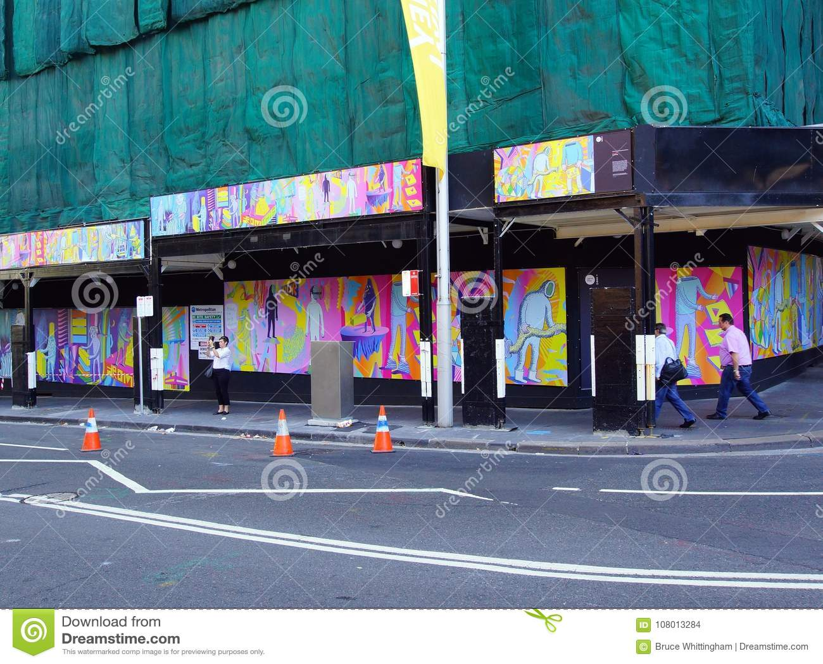 Building Site Graffiti, Sydney CBD, Australia Editorial