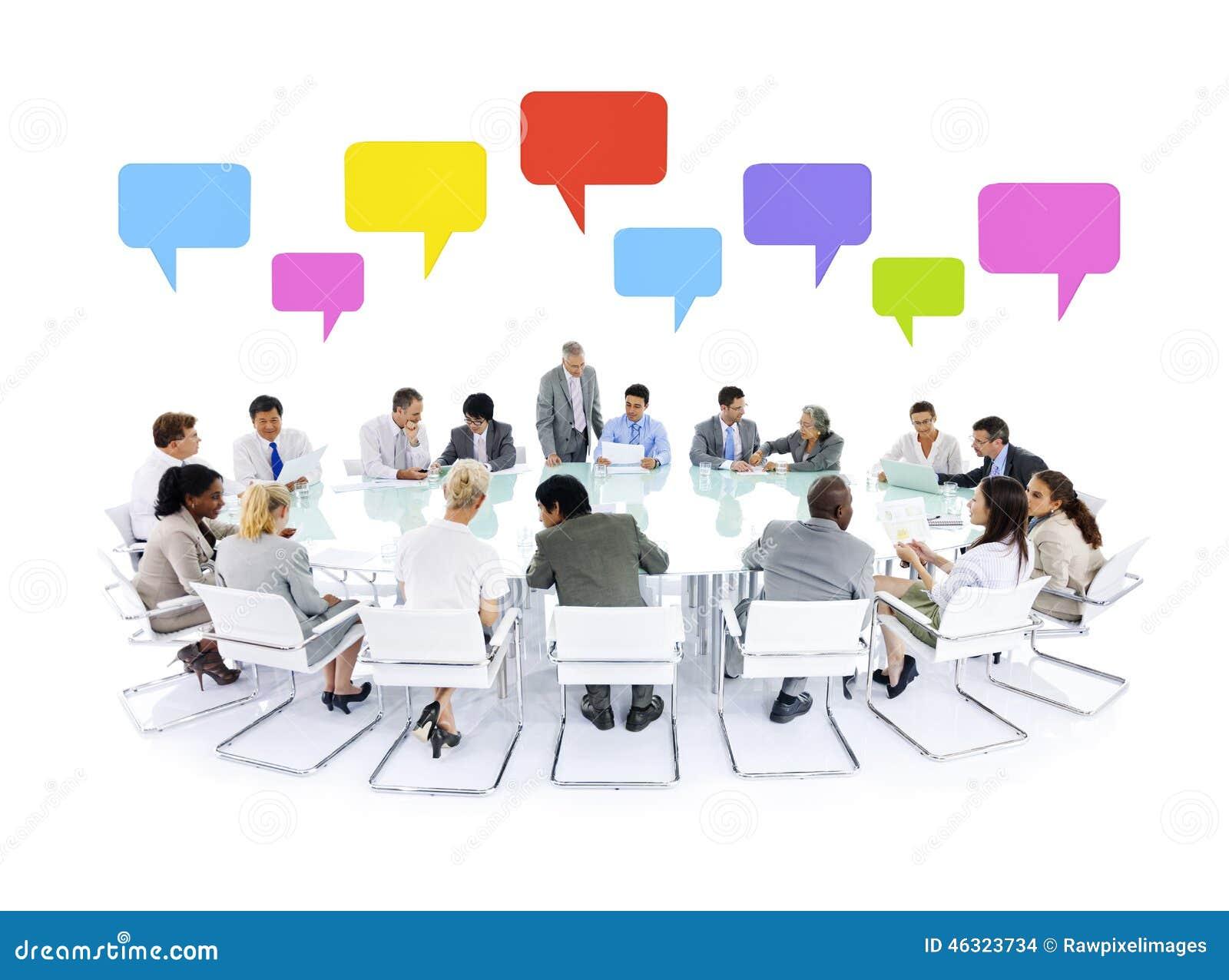 Large business meeting speech bubbles concept stock photo - Grande table de reunion ...