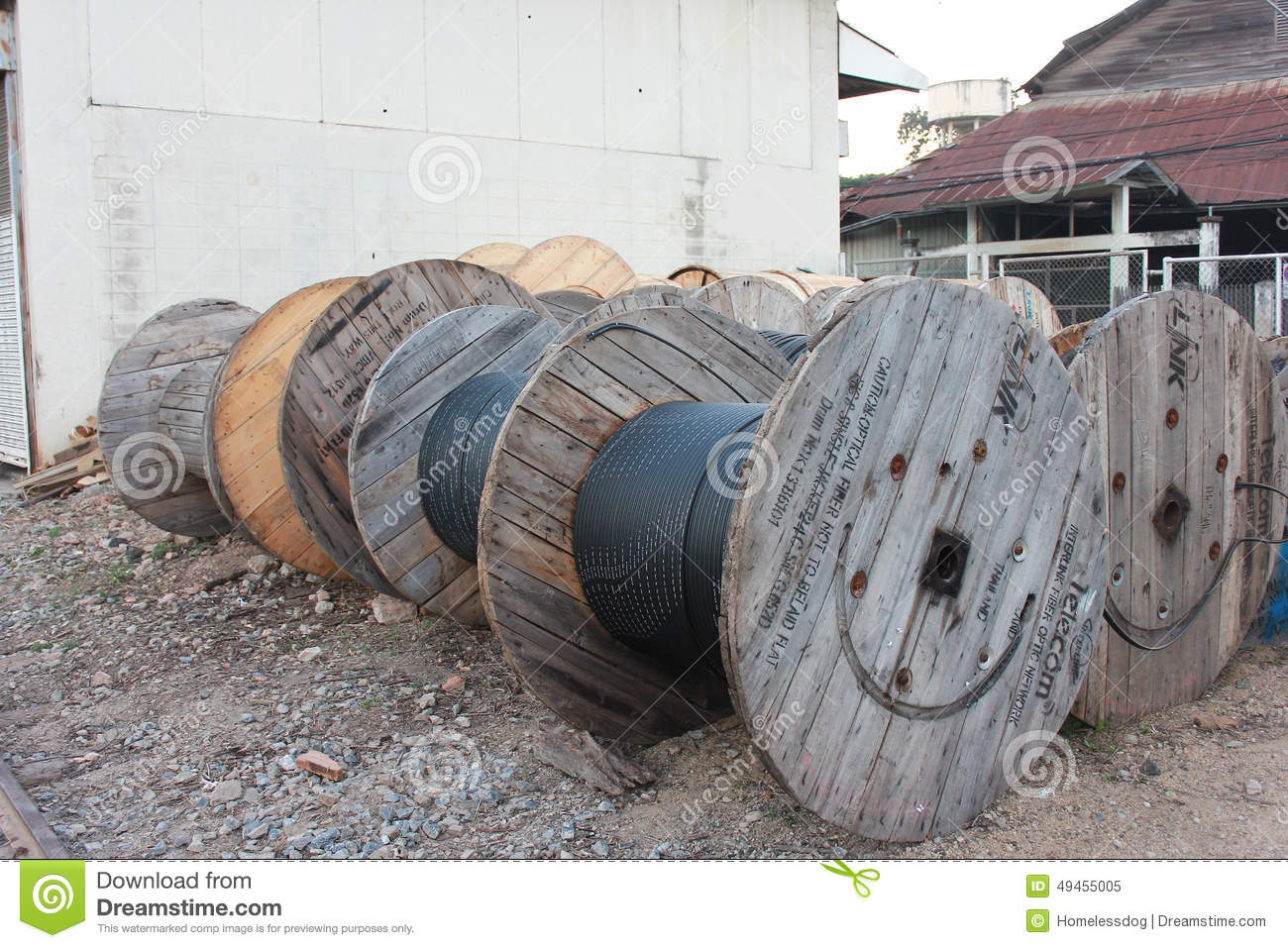 Industrial Electric Cable : Large cable drum editorial image