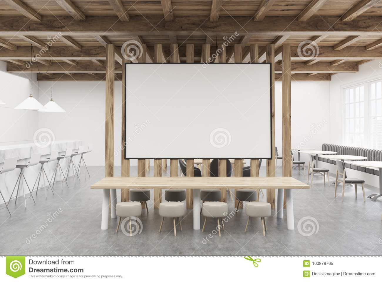 Large Cafe Table, Poster And Bar, Wood Stock Illustration