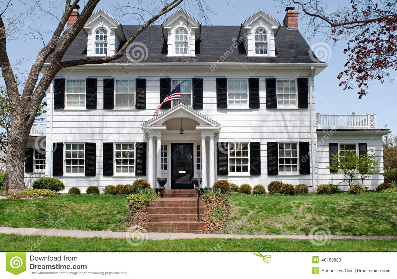 Georgian Colonal House Stock Image Image Of Lawn Lifestyle 40180883