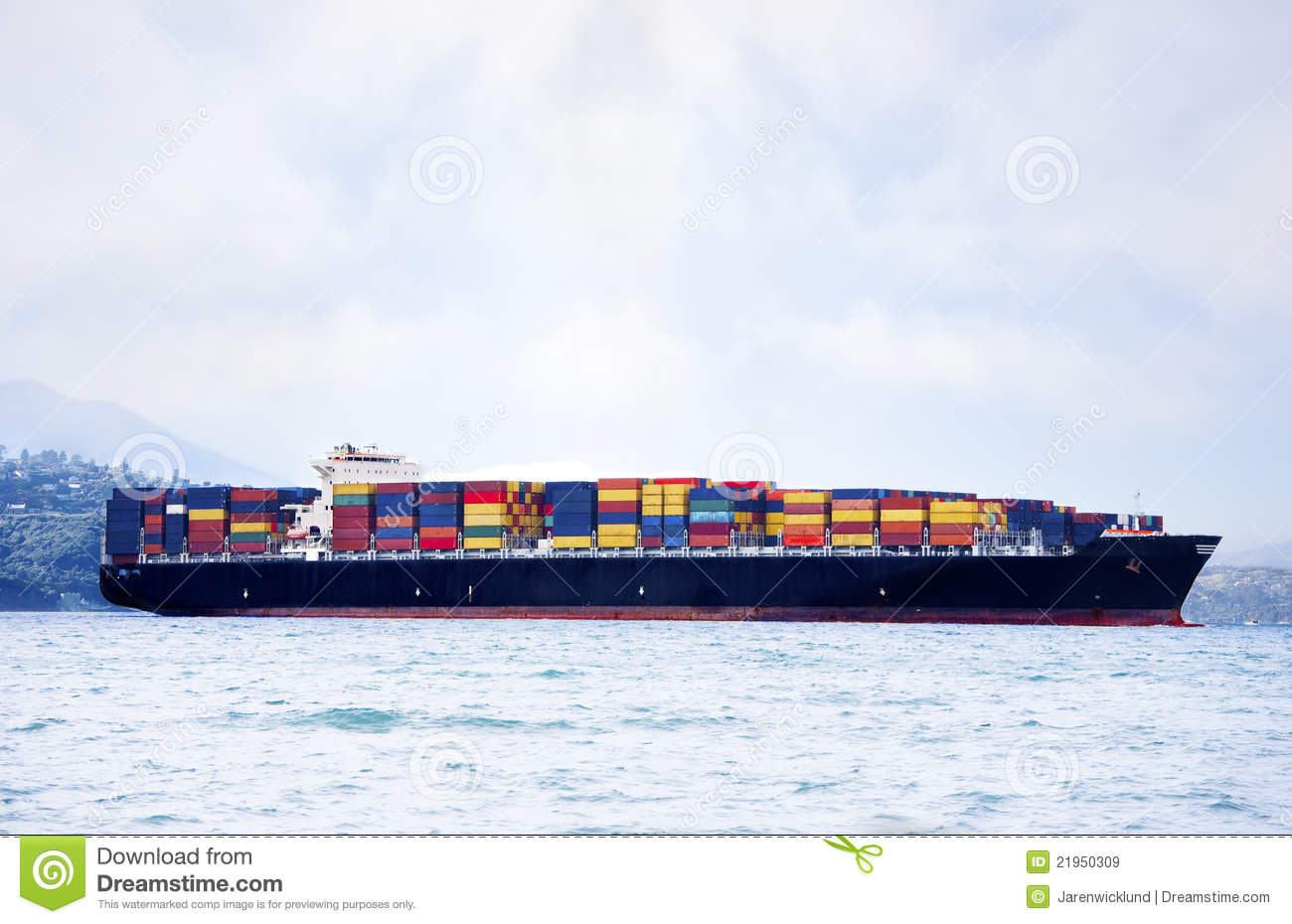 Large cargo ship carrying shipping containers stock image for Tall shipping container