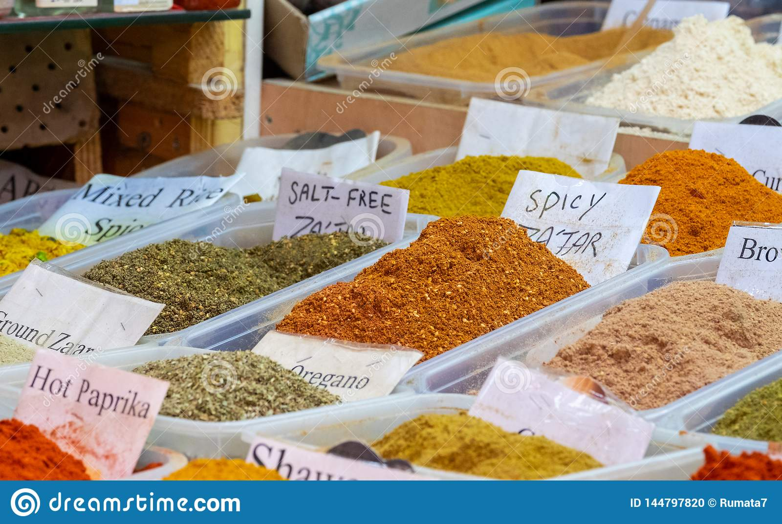 Large choice of Zaatar spices, a blend of hyssop, sumac, sesame and salt for sale at old market. Jerusalem