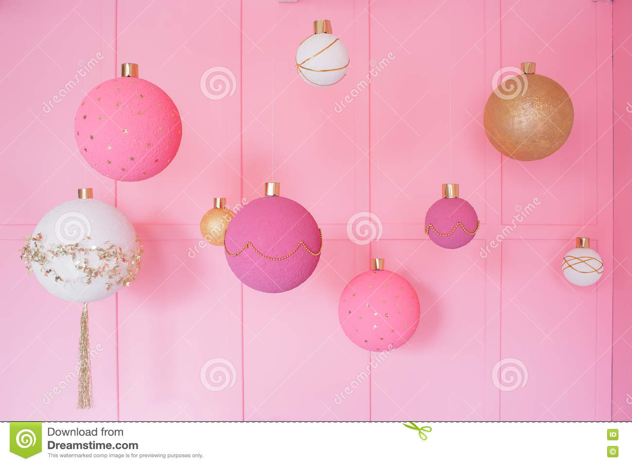 large christmas balls on a pink background in children room - Large Christmas Balls