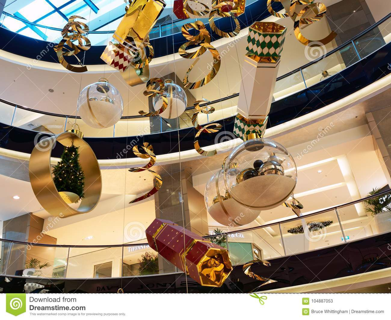 Large Christmas Decorations In Shopping Mall Editorial Stock