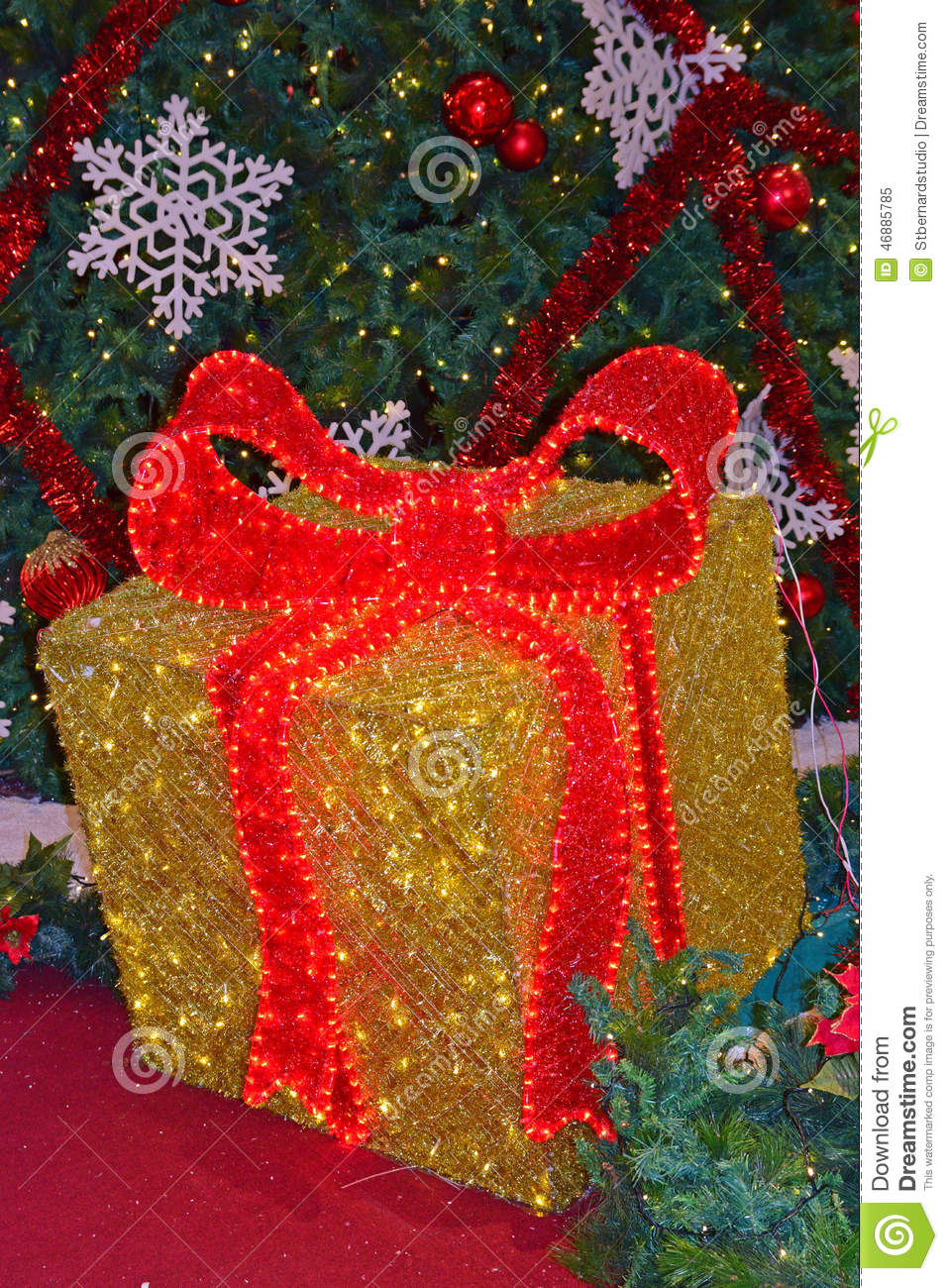 A large christmas gift box stock photo image 46885785 for Red and yellow christmas tree