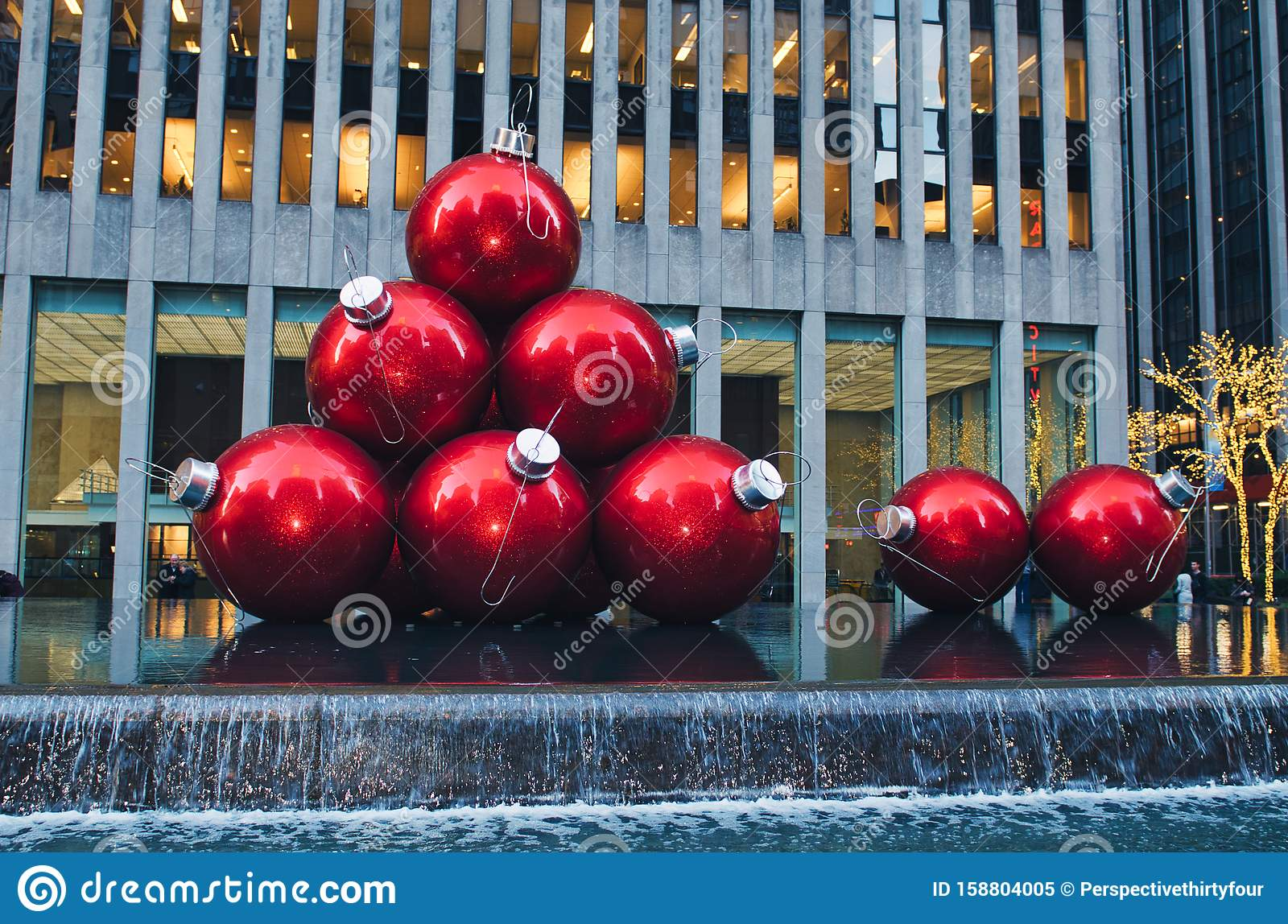 Large Christmas Ornaments On Display In New York City ...
