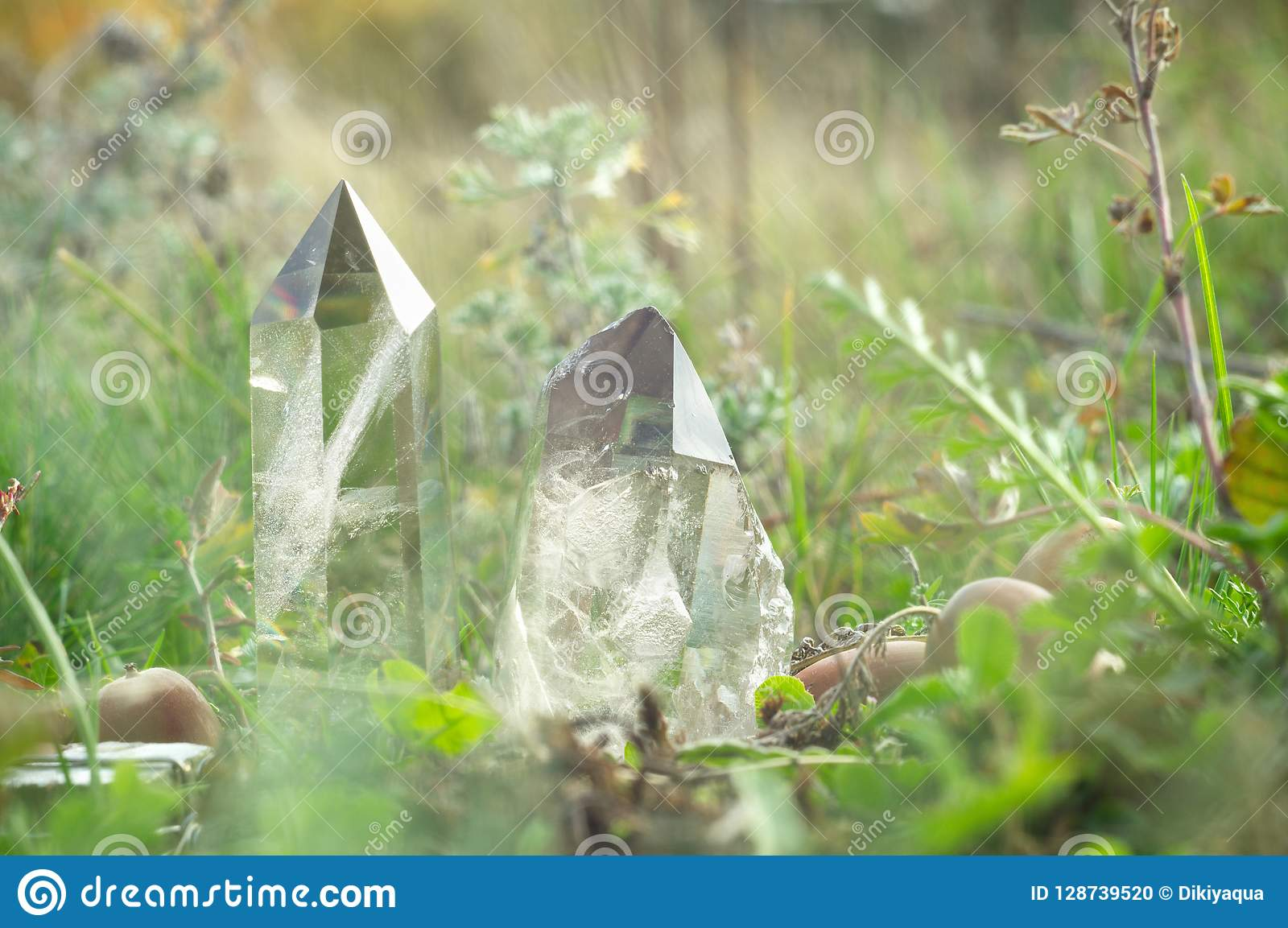 Large clear pure transparent great royal crystals of quartz chalcedony diamond brilliant on nature blurred bokeh autumn background