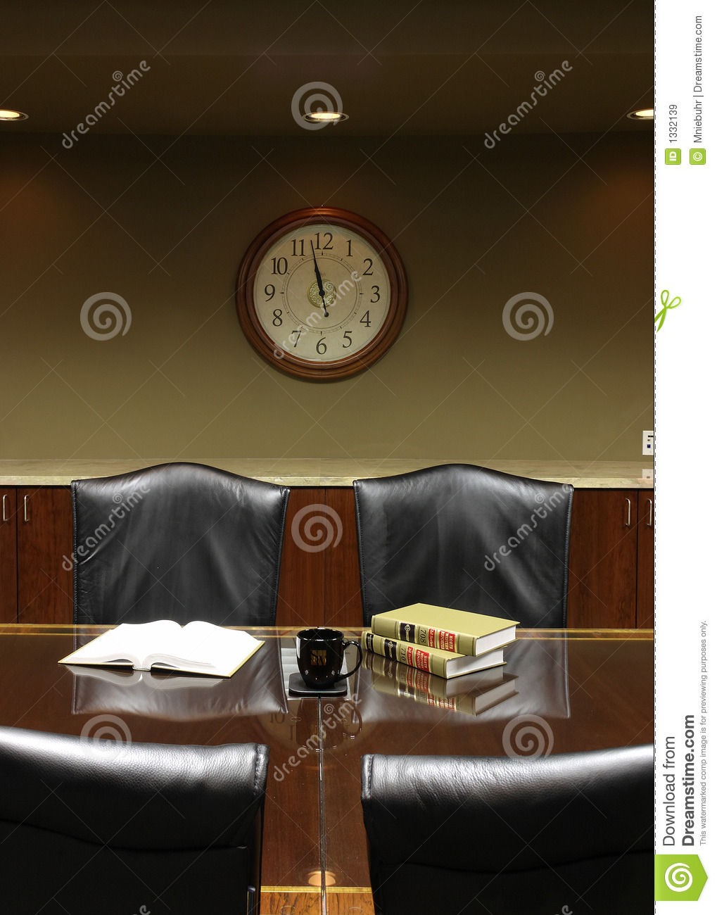 Large clock at Lunchtime break in the Board Room