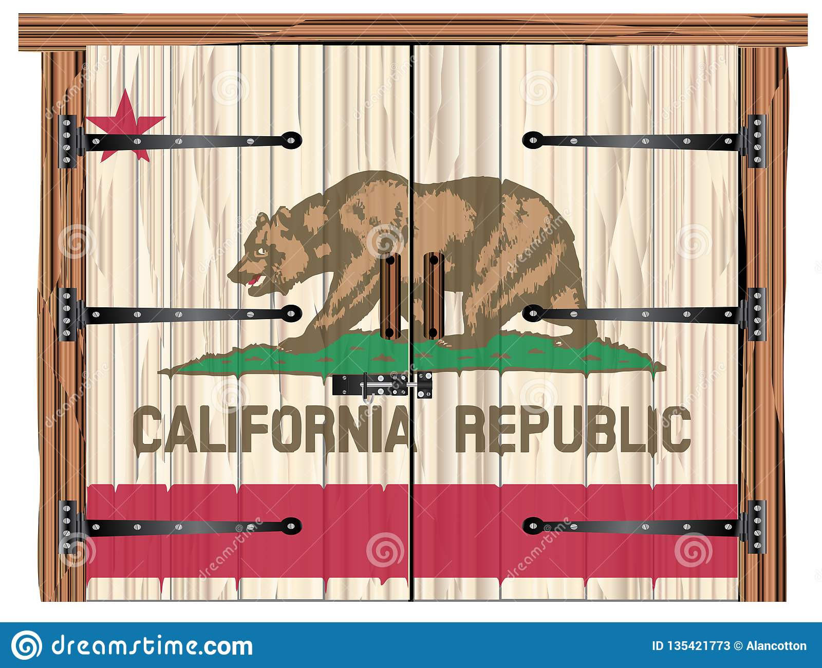 Closed Barn Door With California State Flag Stock Vector ...