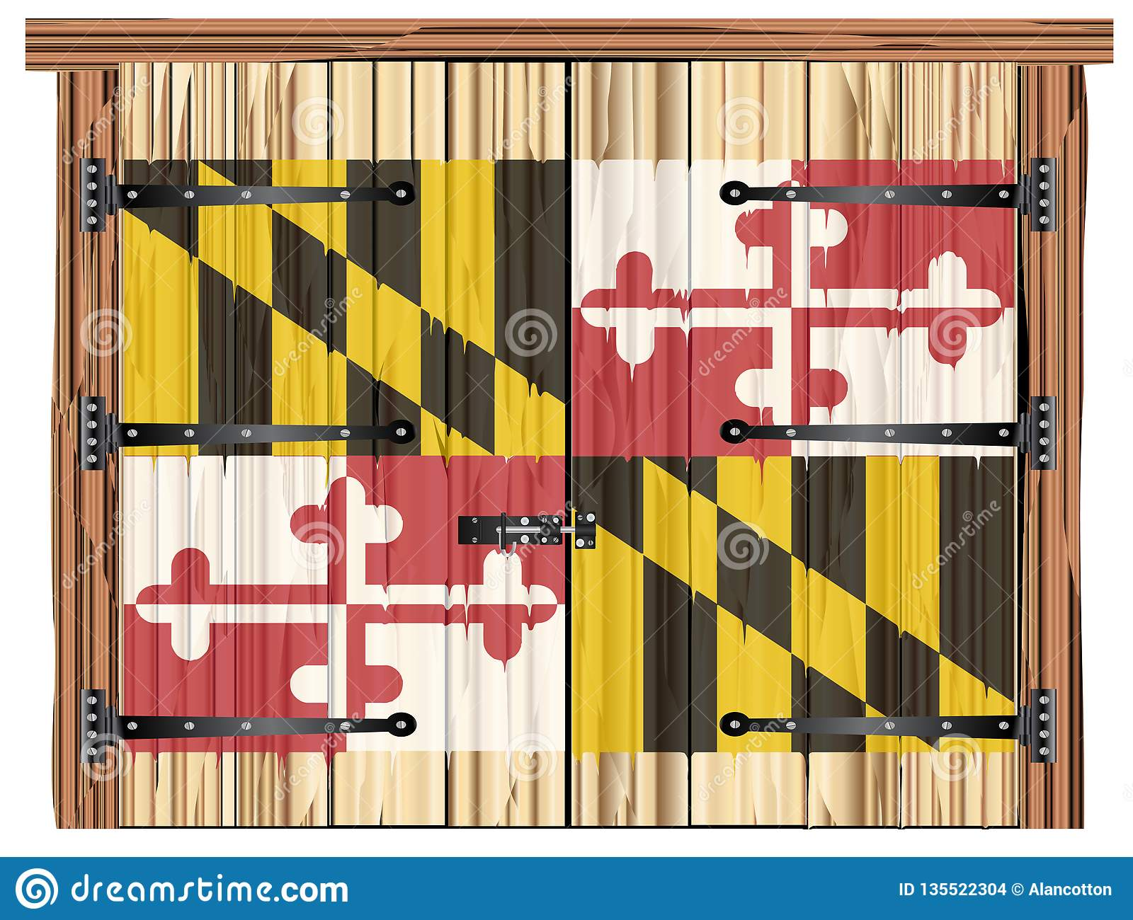 Closed Barn Door With Maryland State Flag Stock Vector ...