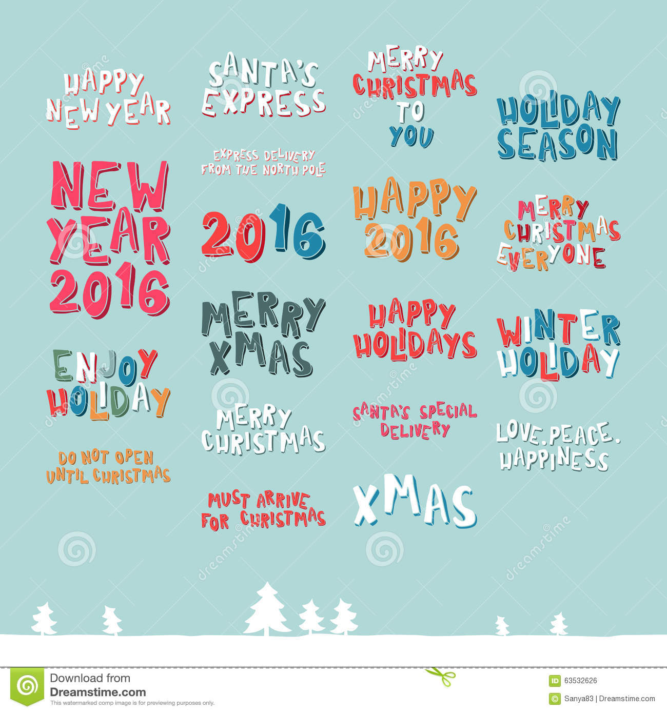 A Large Collection Of Christmas Greeting Phrases Stock Vector