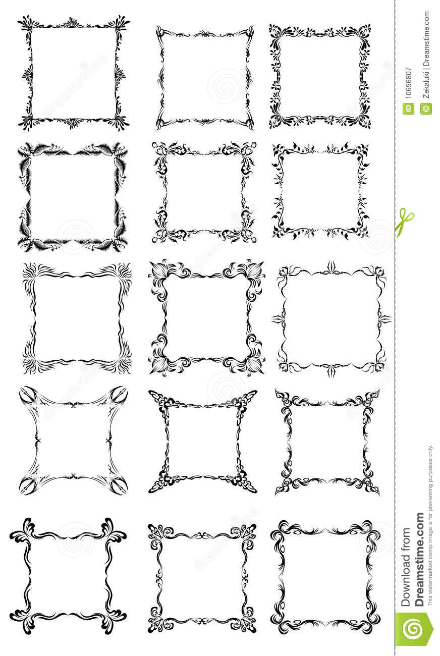 Large Collection Of Different Styles Of Frames. Illustration ...