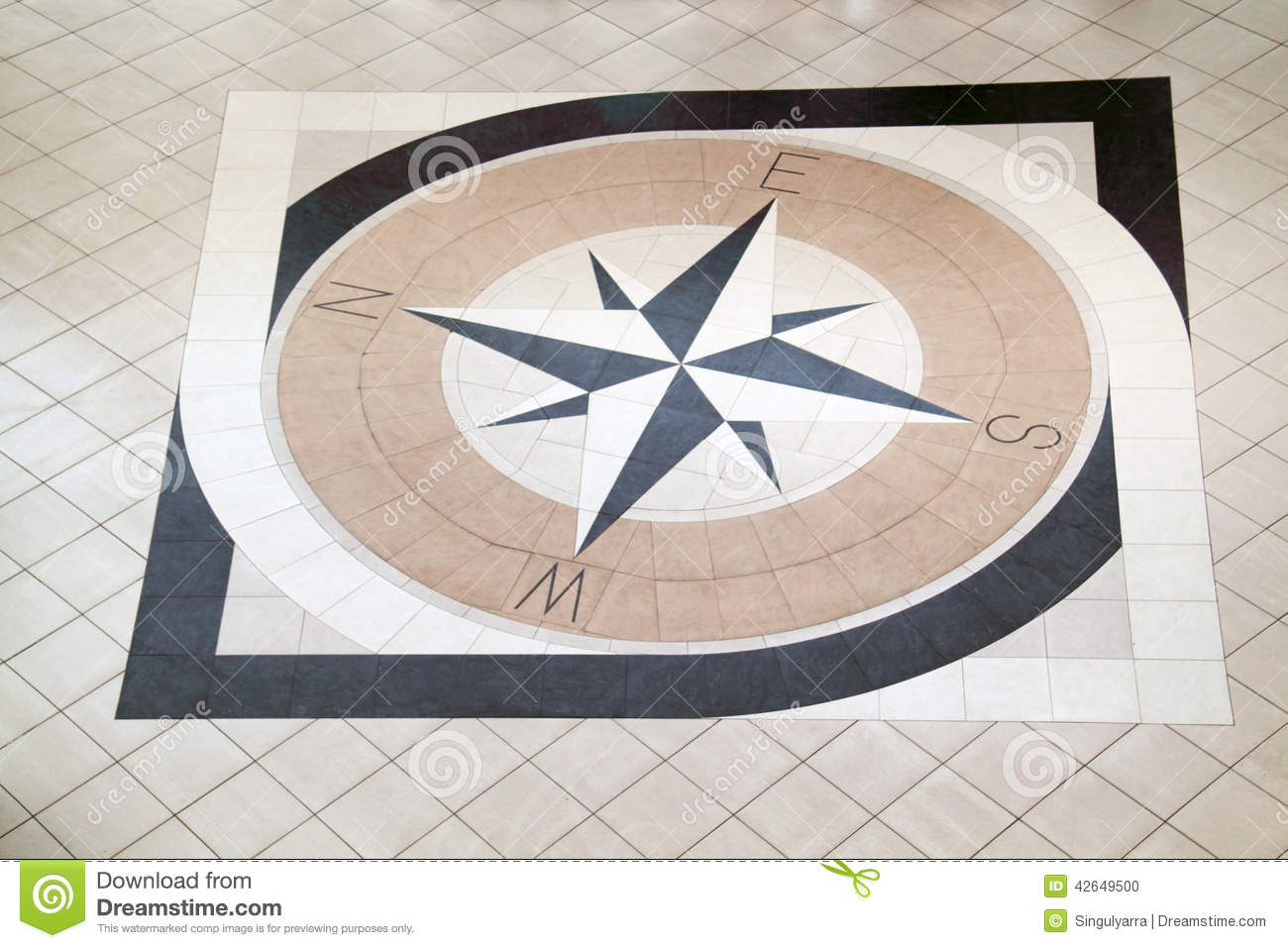 Compass Floor Tile : Large compass on floor stock photo image of mall