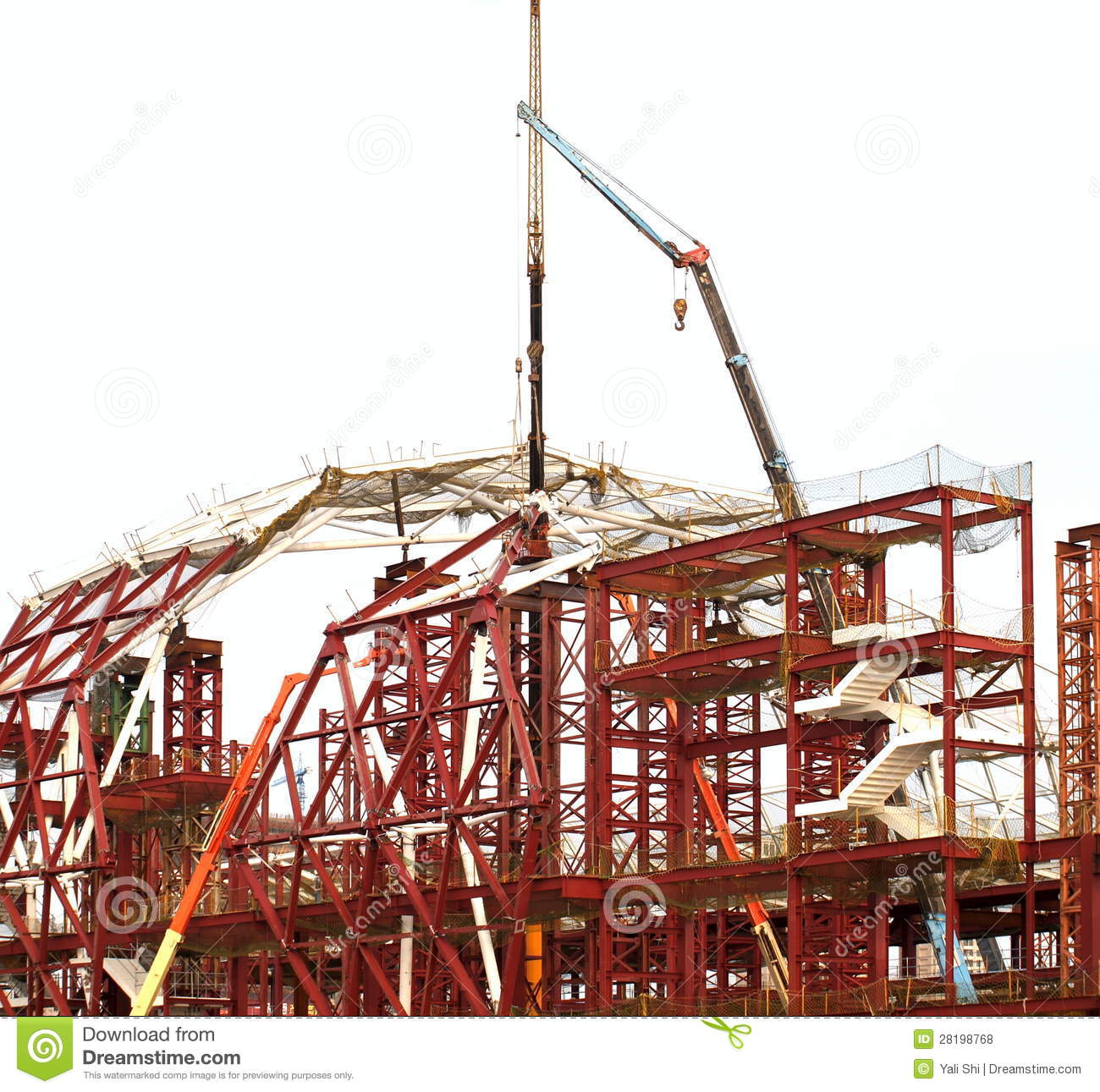 Large Construction Cranes : Large construction site with cranes royalty free stock