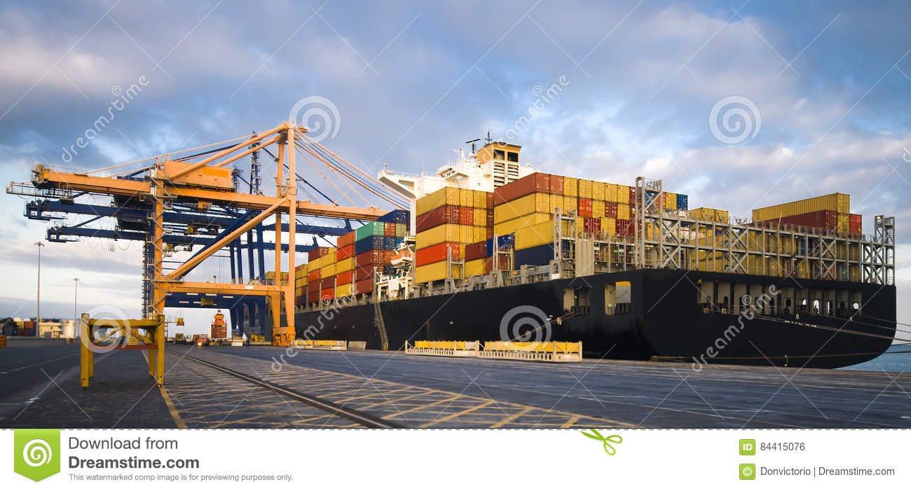 Large container ship moored in port during cargo operation for Tall shipping container