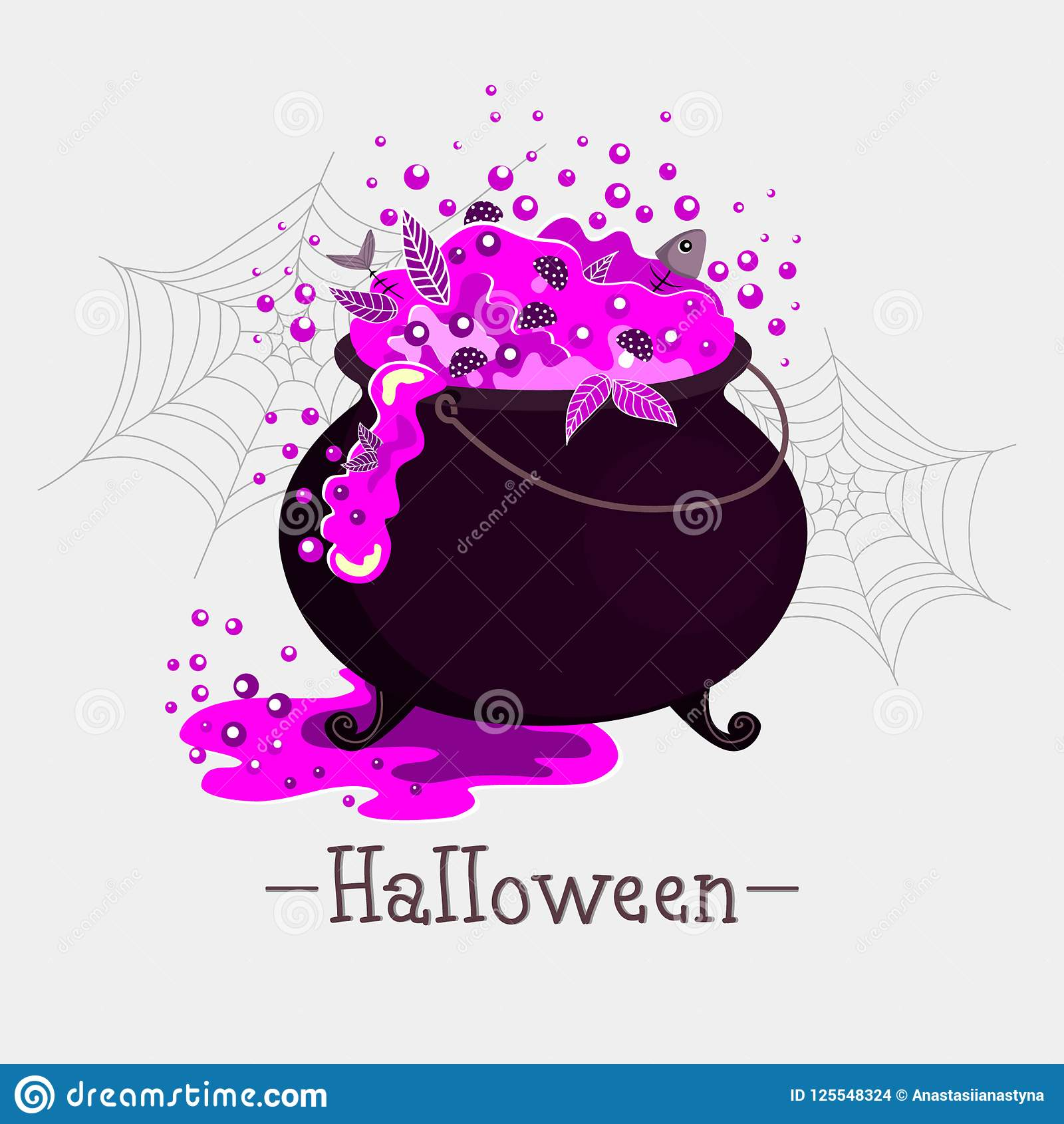 illustration for halloween boiling purple drink with mushrooms leaves and fish bones in cauldron lettering