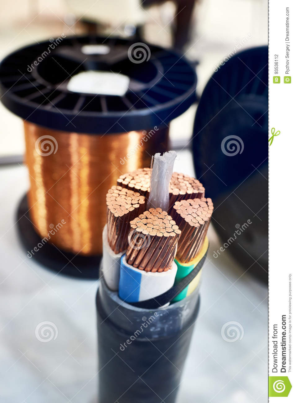 Large Copper Cable : Large copper power cable in section stock photo image