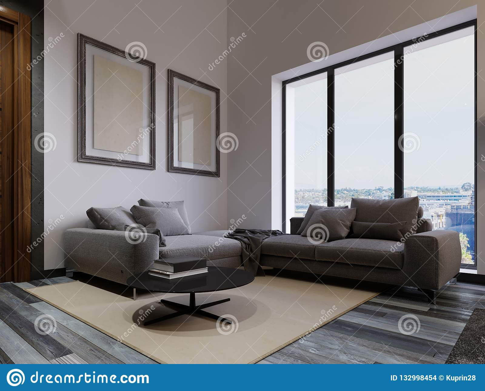 A Large Corner Sofa By The Living Room Window Is ...