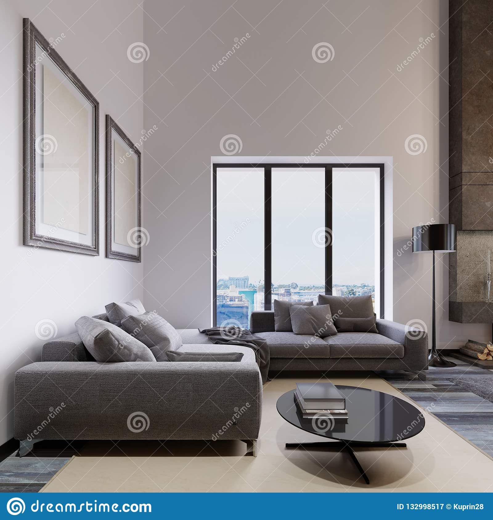 A Large Corner Sofa By The Living Room Window Is Contemporary Style