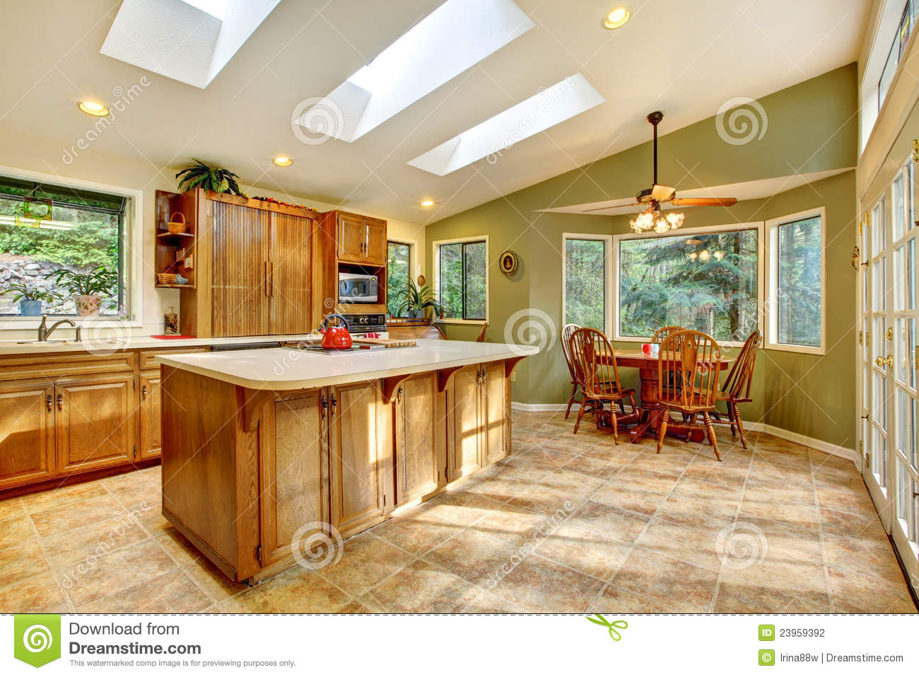 Large Country Kitchen With Skylights Stock Photo Image