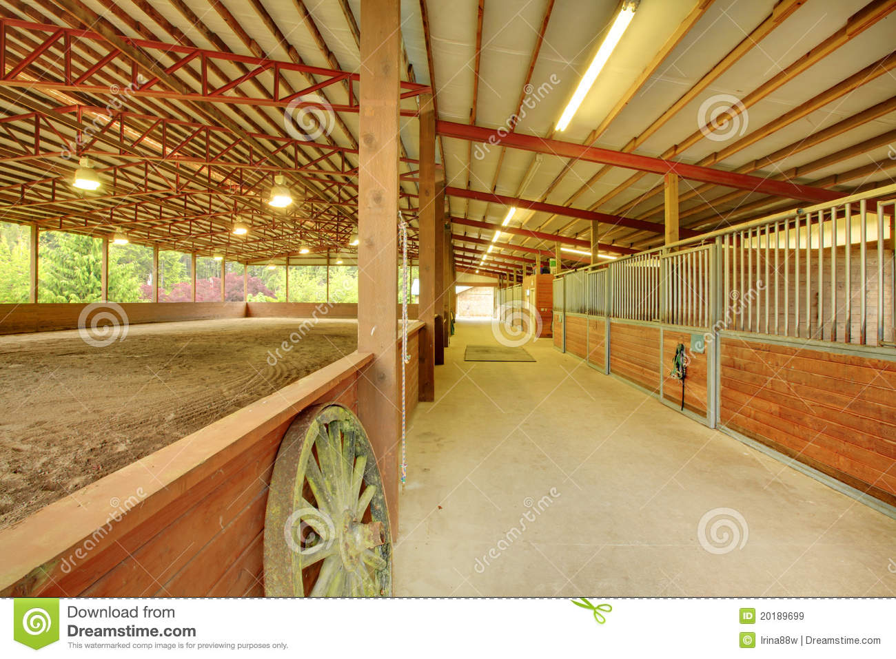 Large Covered Horse Arena With Stables Royalty Free Stock