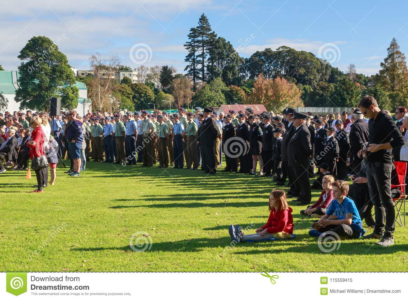 Anzac Day 2018, Tauranga, NZ: Crowd gathered for ceremony at Memorial Park