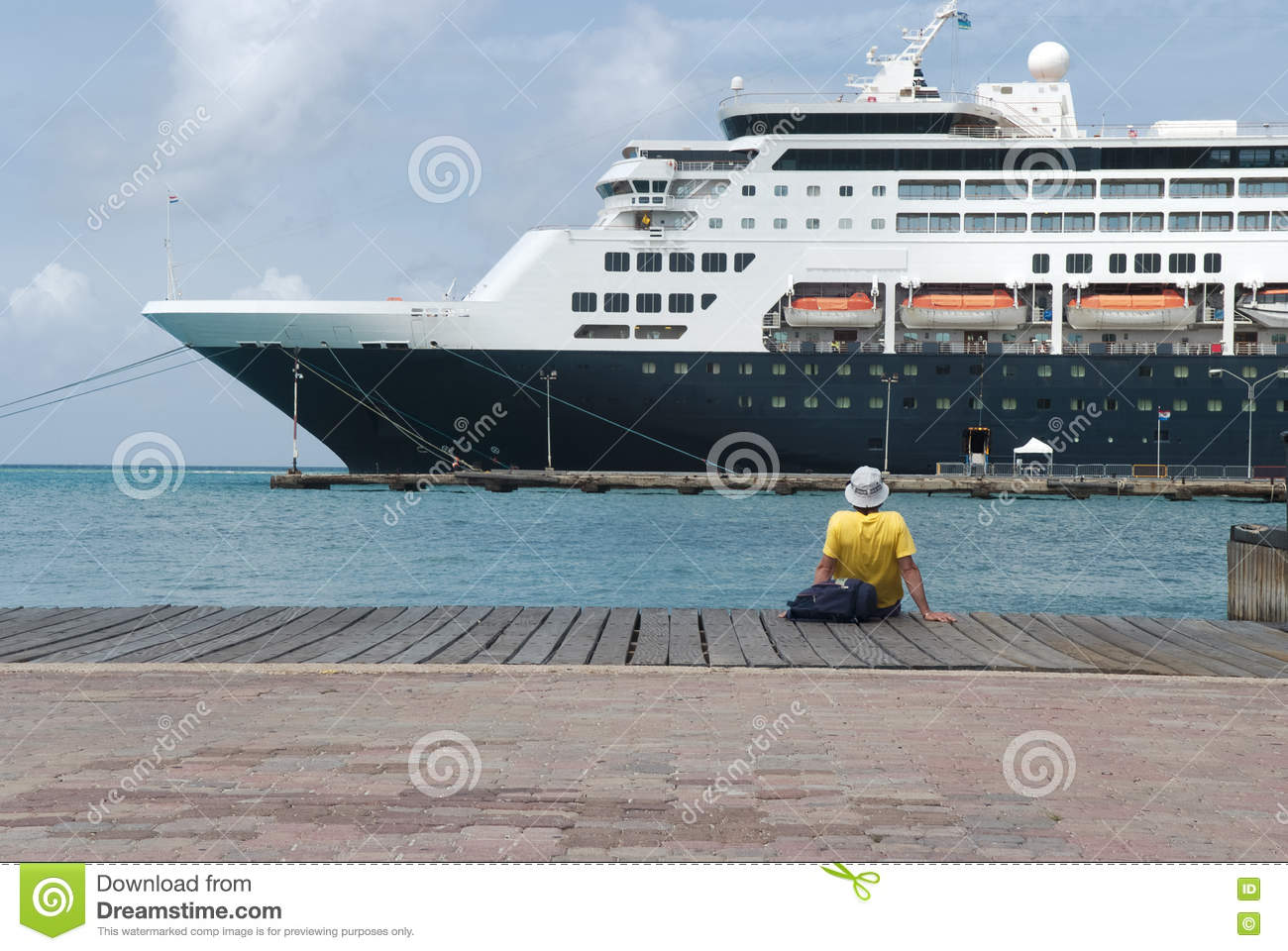 Large Cruise Ship Docked At The Port Of Aruba Stock Photo