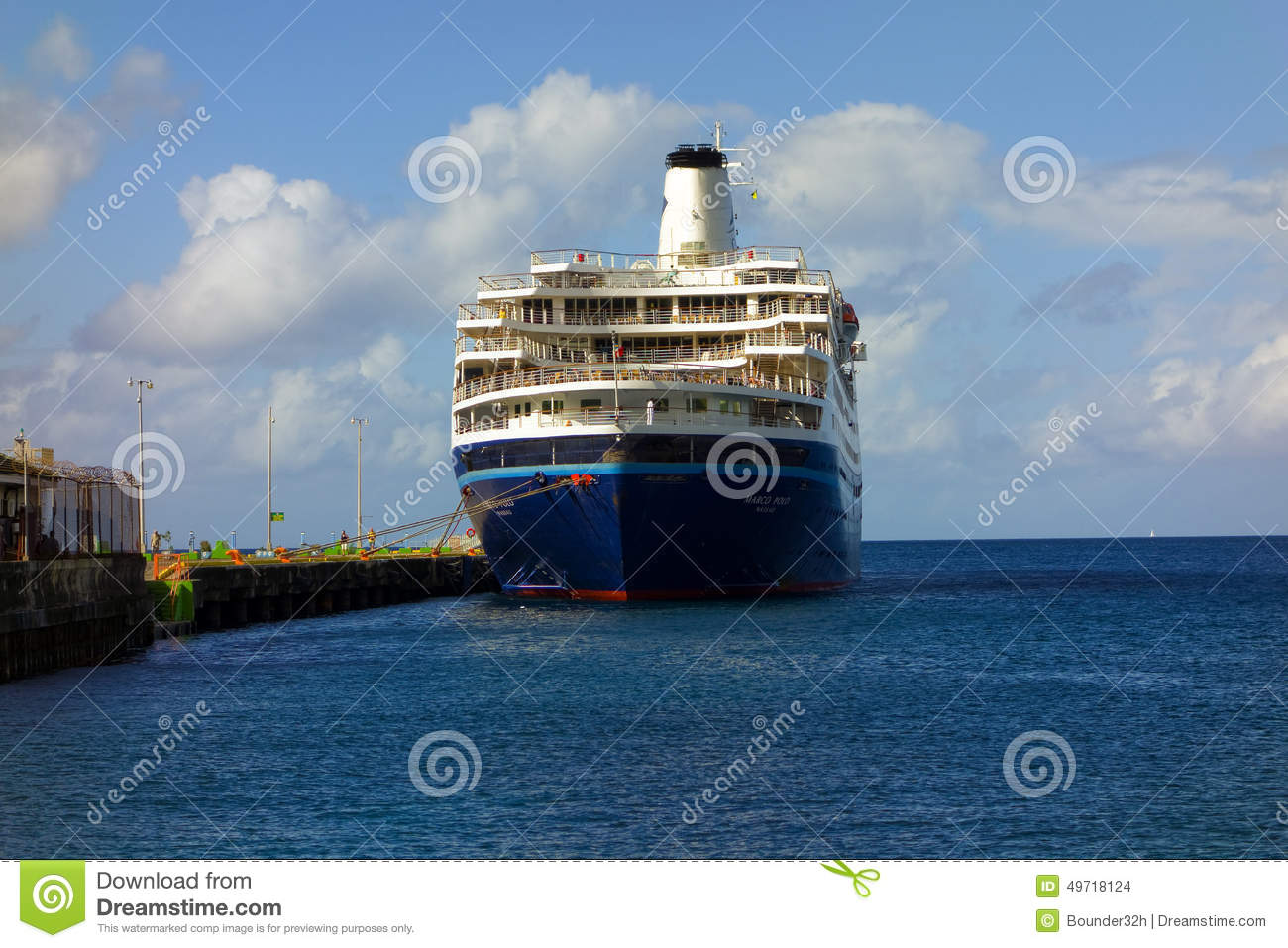 A Large Cruiseship Calling At Kingstown St Vincent