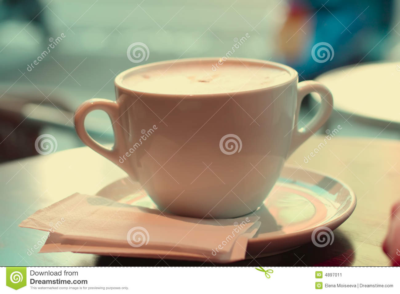 Large cup of coffee in retro style colors
