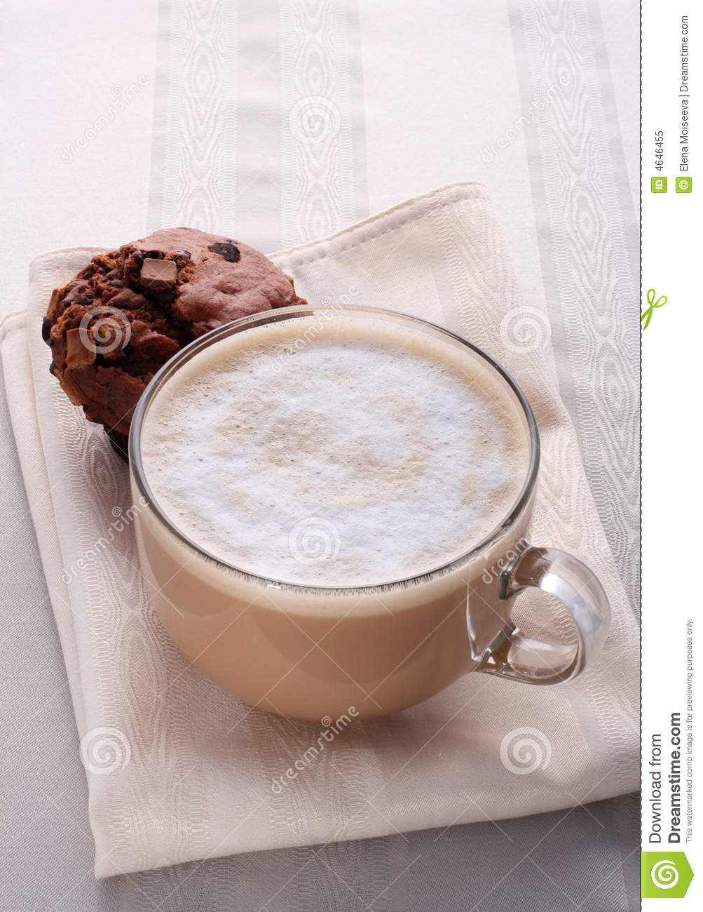 Large cup of fresh coffee latte cappucino and cake