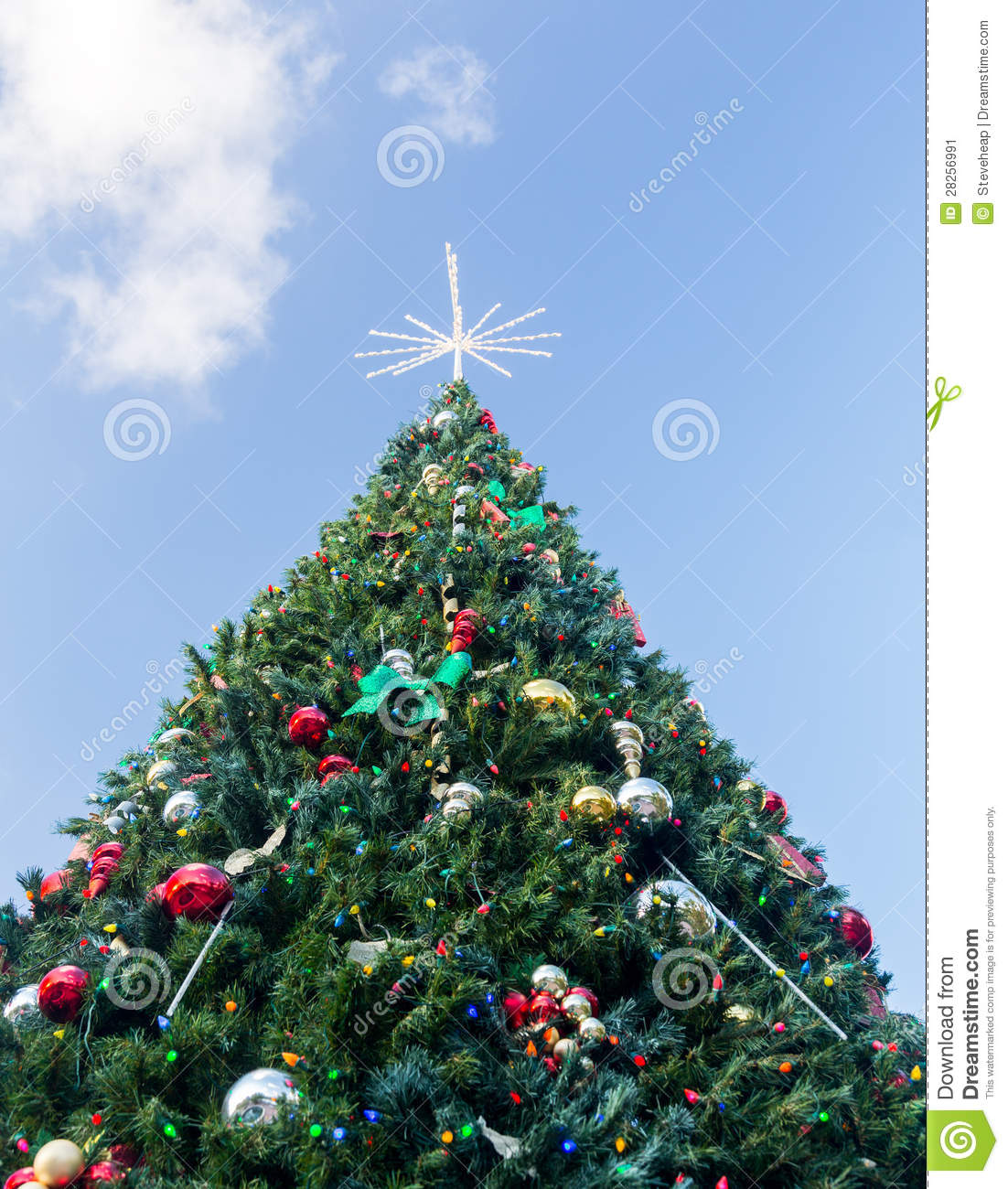 Large decorated external christmas tree stock image Large decorated christmas trees