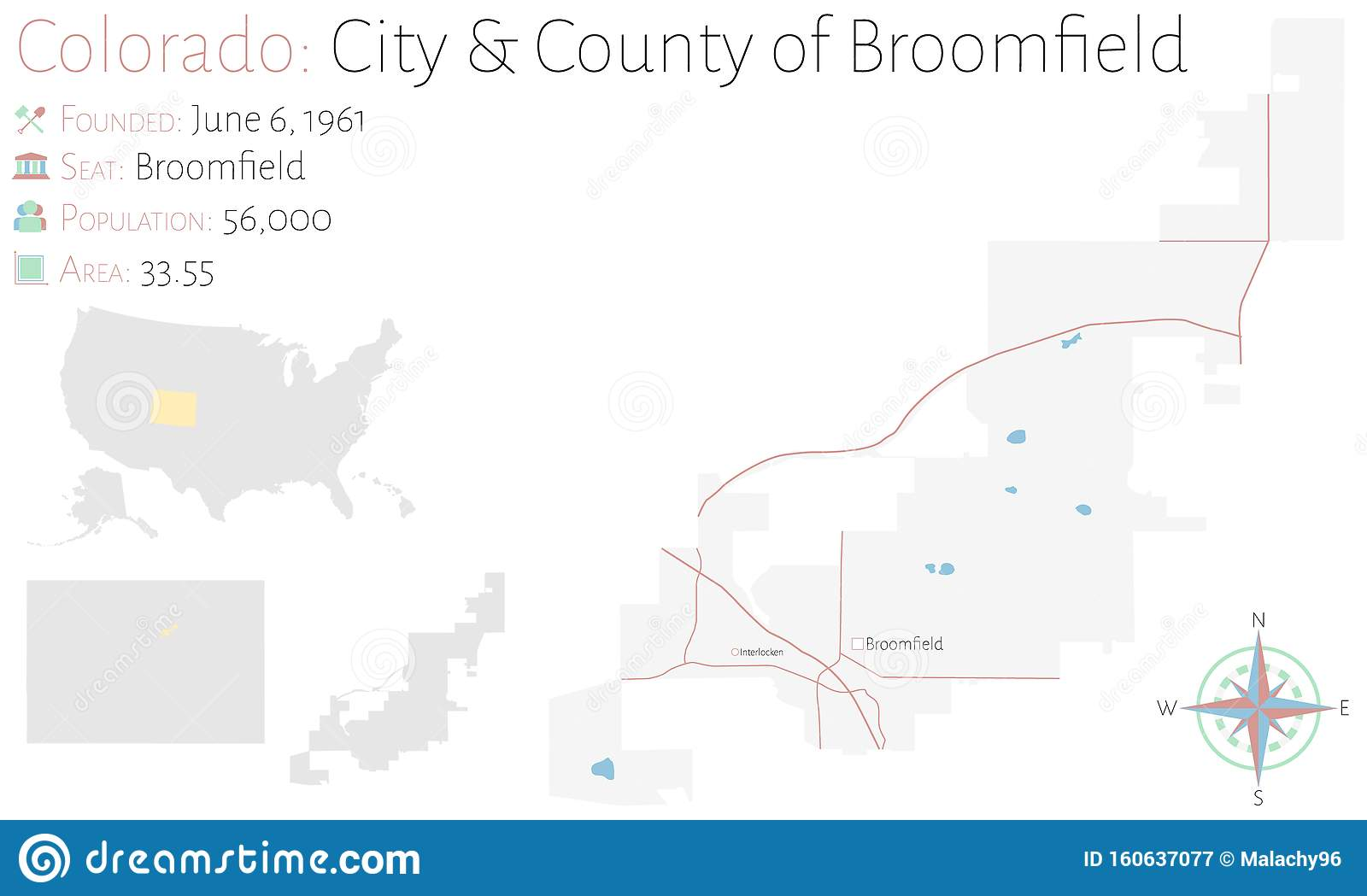 Map Of City & County Of Broomfield In Colorado Stock Vector ...