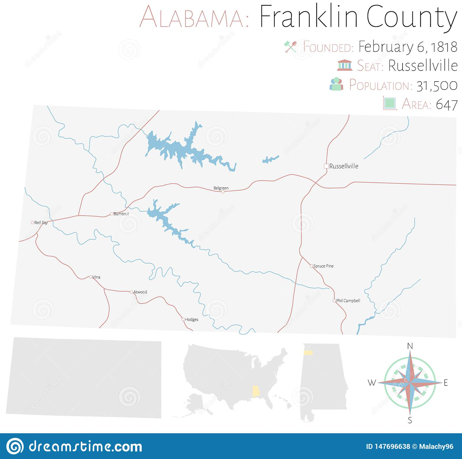 Map of Franklin County in Alabama