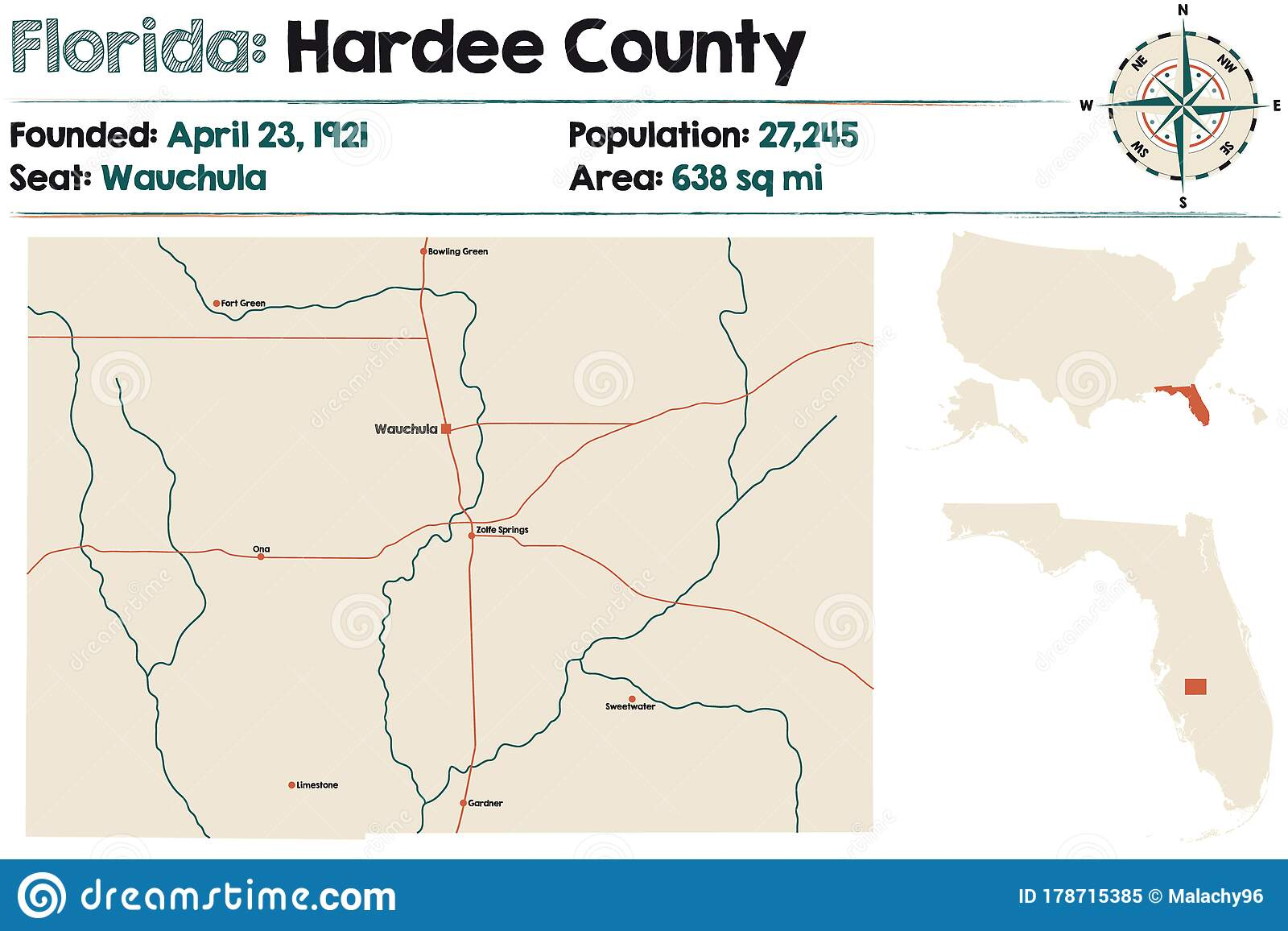 Map Of Hardee County In Florida Stock Vector Illustration Of
