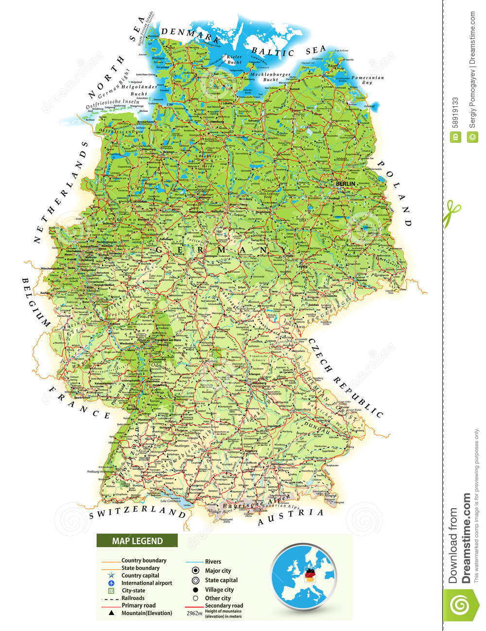Large Detailed Physical Map Of Germany Stock Vector Image - Germany map with major cities