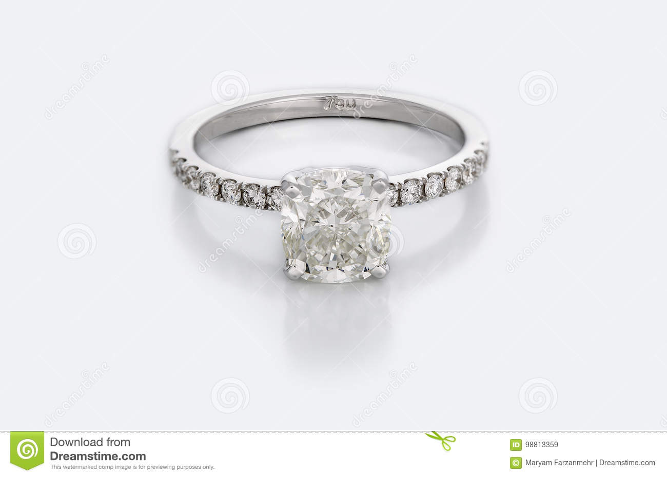 Large Diamond Solitaire Engagement or Wedding Ring