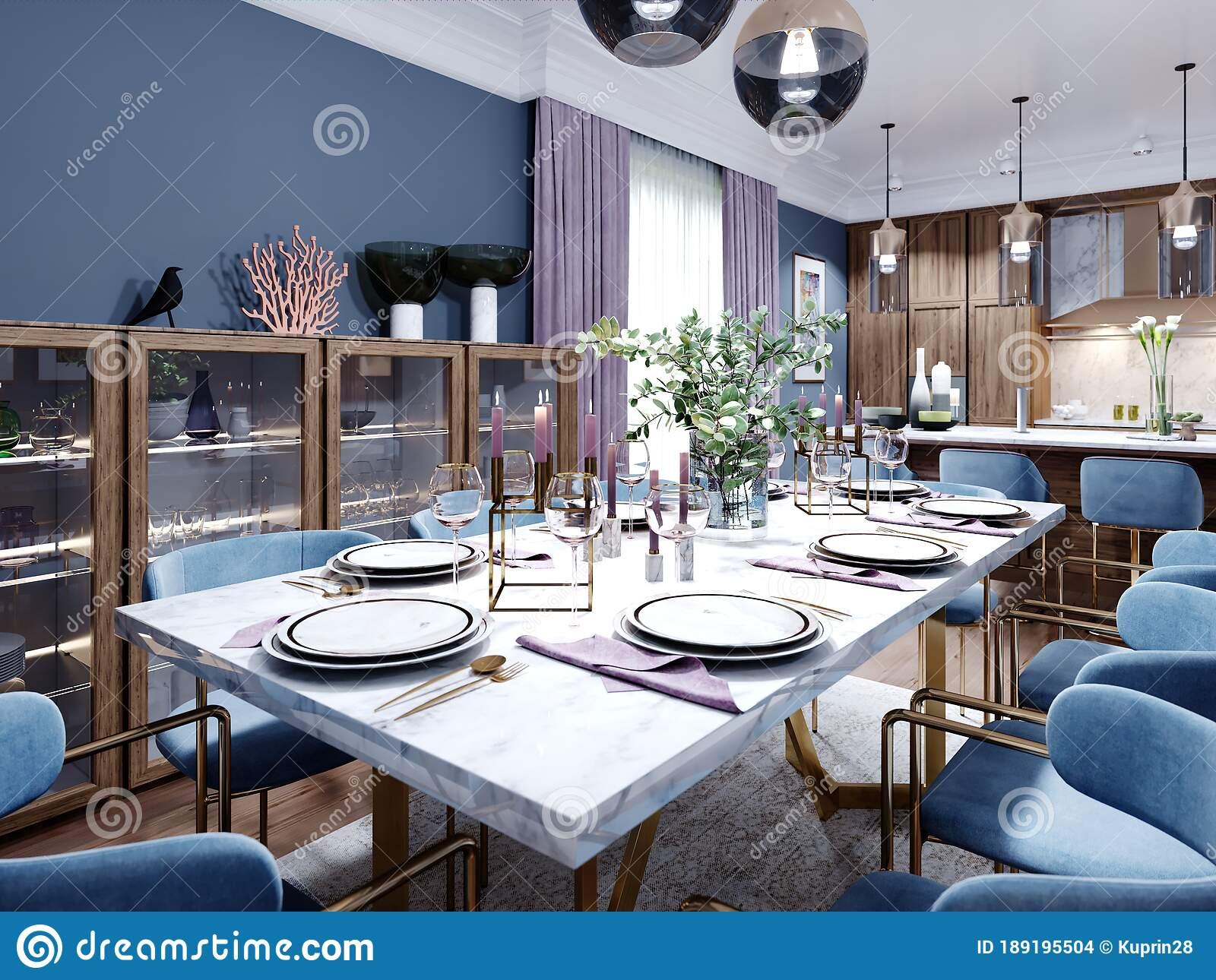 Large Dining And Dining Room Table With A Kitchen In A Fashionable Modern Design Wooden Furniture Interior In Brown And Blue Stock Illustration Illustration Of Home Cupboard 189195504