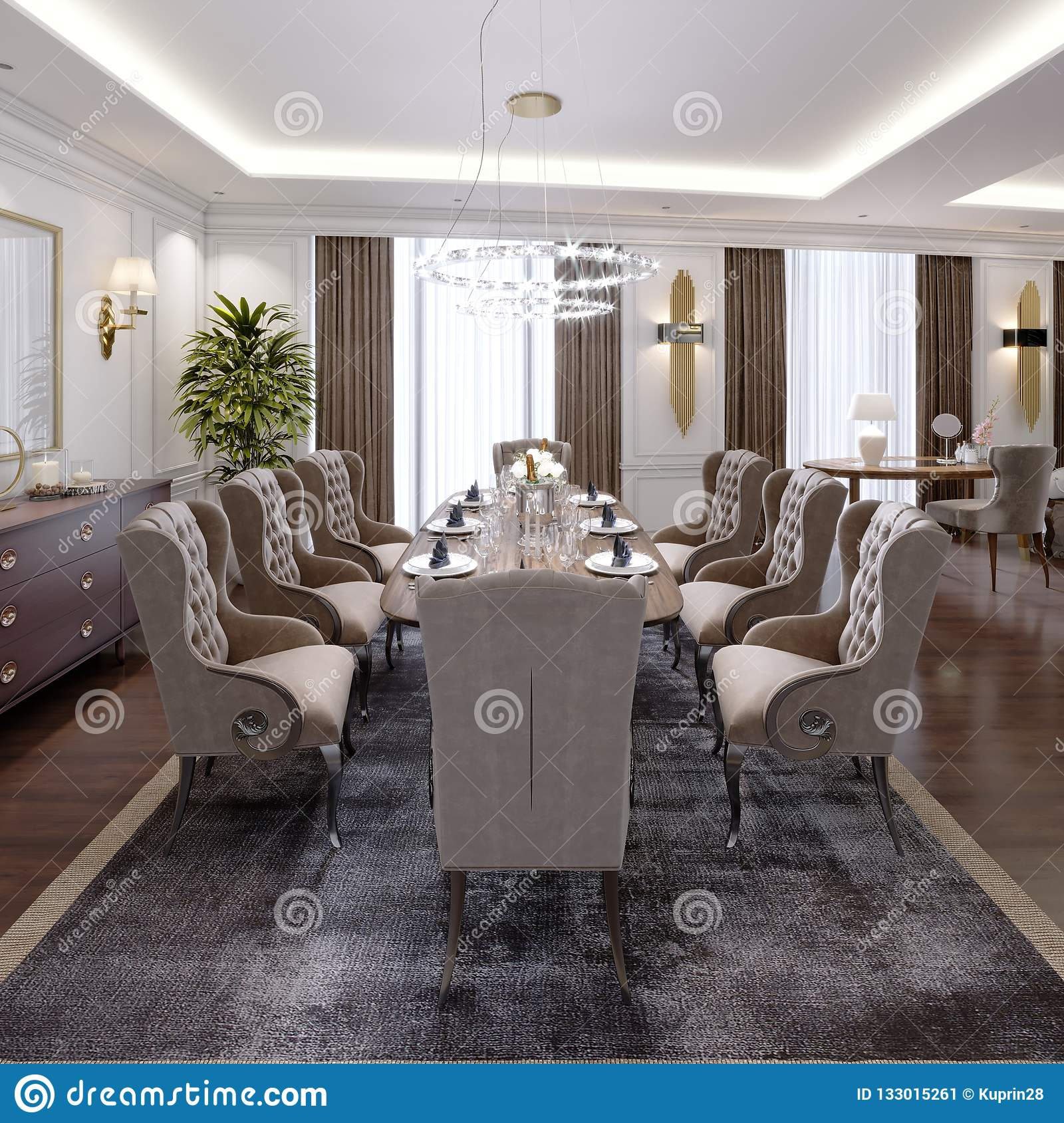 Large Dining Table For Eight People In The Dining Room