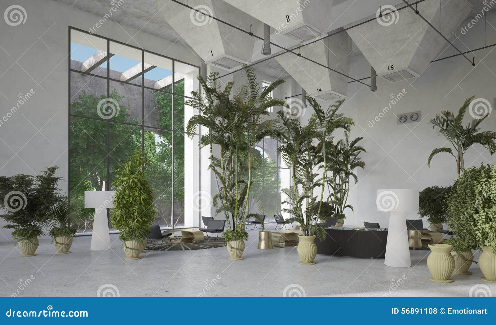Palm Tree Decor For Living Room Large Double Volume Living Room Atrium Stock Photo Image 56891108