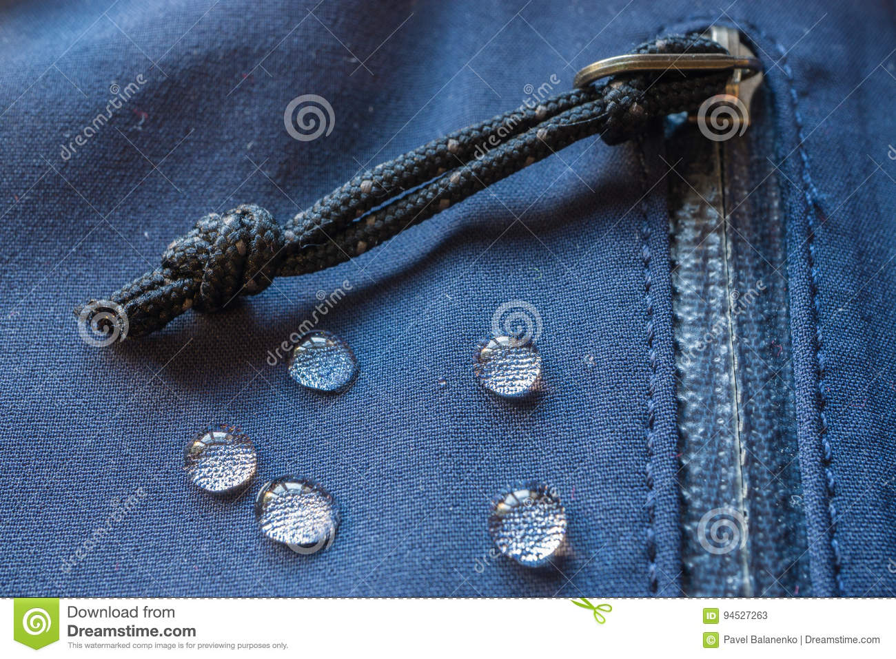 Large drops of water on waterproof clothes. zippers pocket fastener