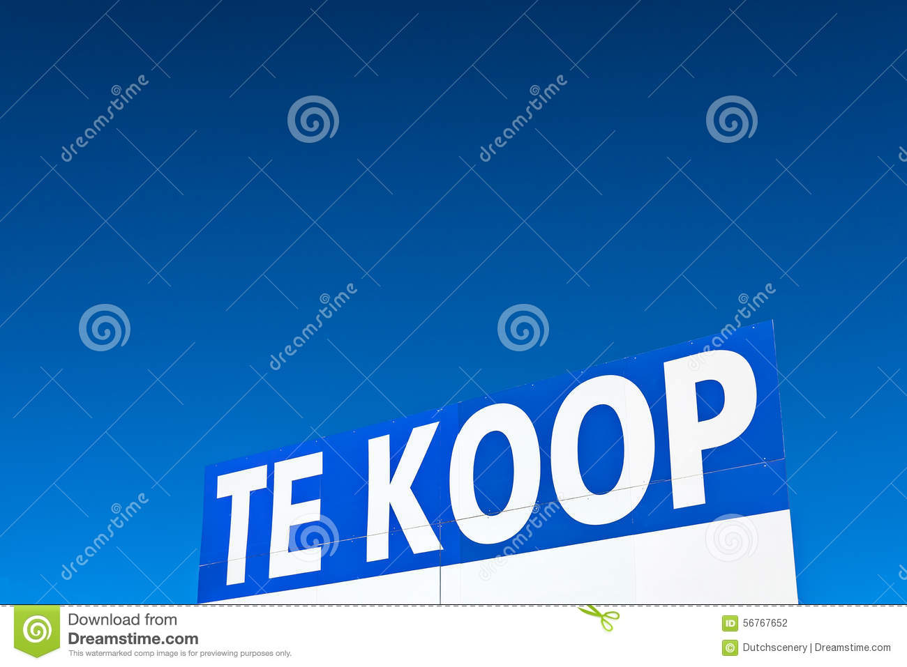 Large dutch for sale sign in front of a blue sky stock for Dutch real estate websites