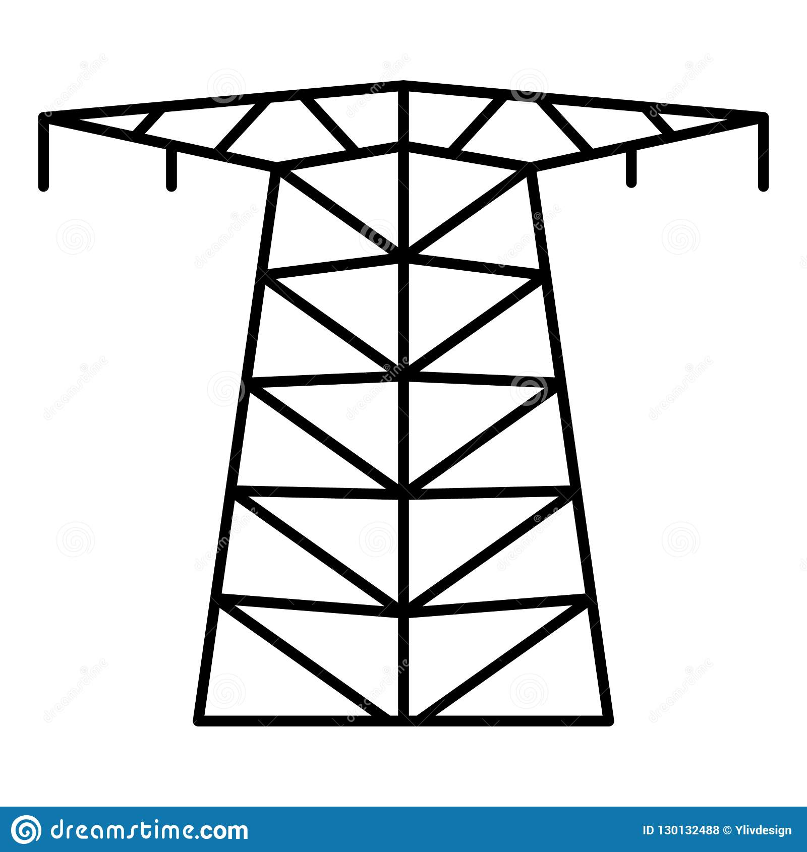 Large Electric Tower Icon, Outline Style Stock Vector - Illustration