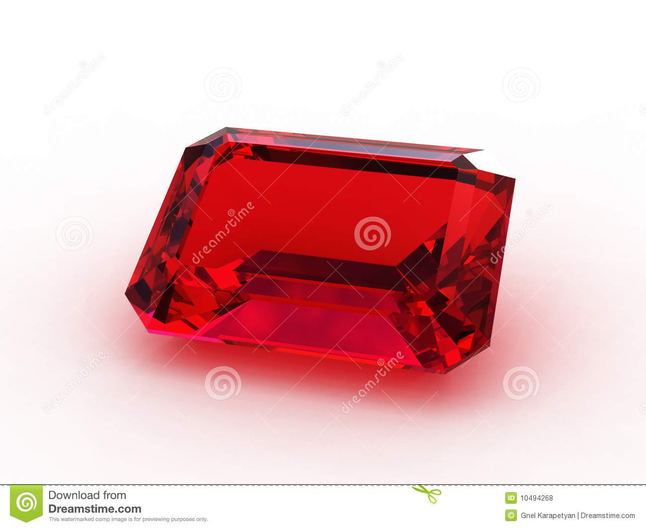 Large Emerald Cut Ruby Gemstone Stock Illustration